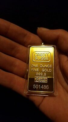 One Ounce Fine Gold 99.9 Gold Layered  Bar..,/=