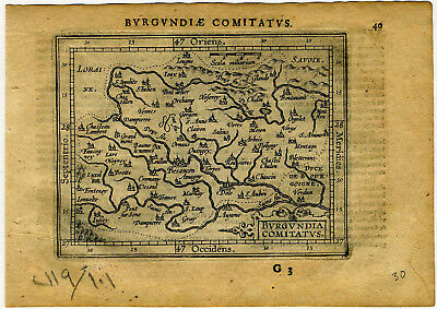 1609 Genuine Antique miniature map of France. Besancon. by  A. Ortelius