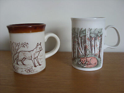 Pair of  Fox Decorated Mugs  Dunoon and Biltons
