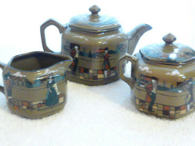 Buffalo Pottery Deldare Teapot, Sugar and Creamer Village Scene