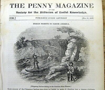 <1837 newspaper fr pg ENGRAVING  of CHIPPEWA INDIANS FISHING Thames River CANADA