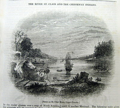 <1837 newspaper fr pg ENGRAVING of CHIPPEWA INDIANS onthe ST CLAIR River CANADA