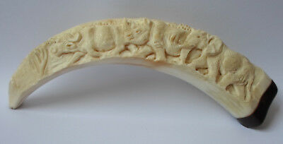 Antique Chinese / African Elephant Rhinoceros Horn Carved Bovine Bone Ornament