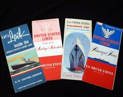 UNITED STATES LINES SS UNITED STATES 4 Brochure Lot