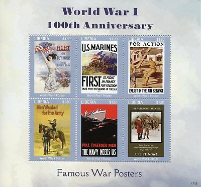 Liberia 2017 MNH WWI WW1 100th Anniv Famous World War I Posters 6v M/S Stamps
