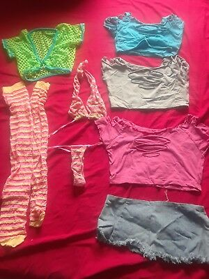 lot of pre-owned stripper exotic dance outfits -size small / OS - 9