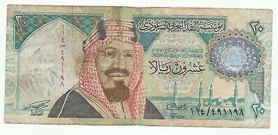 Saudi Riyals 20 Banknote Circulated paper money as shown in the picture