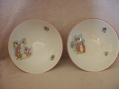 Pair Vintage Ridgway Pottery Bowls Huckleberry Hound & Friends Yogi Bear