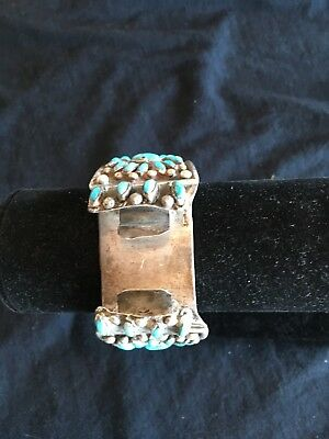 Vintage Mans Watch Band Native American Indian Sterling Silver Turquoise Cuff