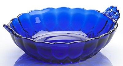 Bowl w/ Handles - Nicole Pattern - Mosser USA - Cobalt Blue Glass