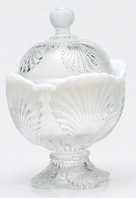 Covered Sugar Bowl - Beaded Shell - Crystal French Opalescent Glass - Mosser USA