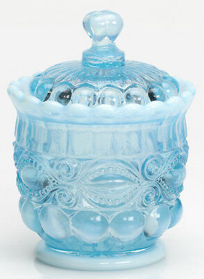 Sugar Bowl - Eyewinker - Aqua Blue Opalescent Glass - Mosser USA