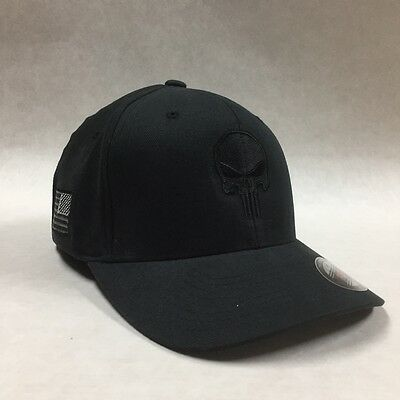 Flexfit Structured punisher Hat Black Cap Tactical US Flag On Side