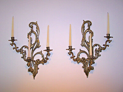 Pair Vintage Brass 3 Arm Louis XV Rococo Style Candle Wall Sconces