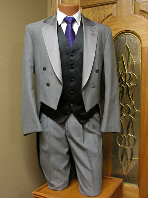 40R Silver Tail Jacket Coat Formal Steampunk Tailcoat Dance Wedding Theater 81RA