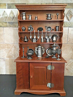 Franklin Mint Colonial American Pewter Miniatures Collection With Hutch Set 33
