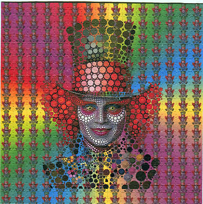 """Psychedelic Blotter Art Mad Hatter Print Perforated 225 Squares Sheet 5.9*5.9"""""""