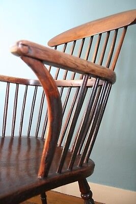 English West Country Comb-Back Armchair Primitive Windsor Stick 19th Chair