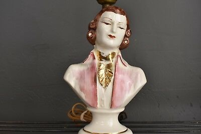 Vintage Table Lamp Ceramic Bust of Victorian Man Gold Pink Colonial French