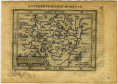 1609 Genuine Antique miniature map of Luxembourg. Lutzenburg. by A. Ortelius