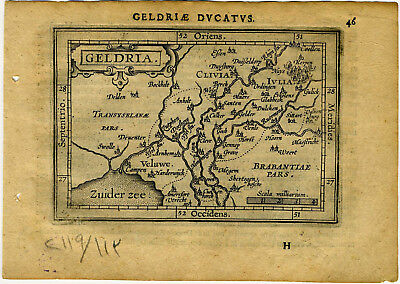 1609 Genuine Antique miniature map of the Netherlands. Geldria. by A. Ortelius