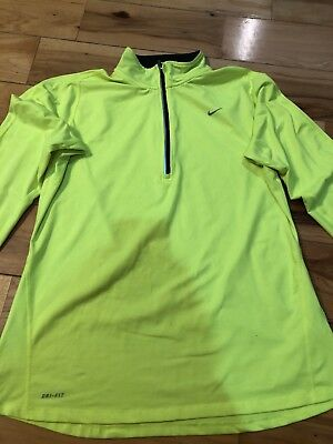 Womens Nike Half Zip Fit Dry Nike Running Pullover Shirt Top L Large Yellow