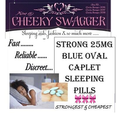 ^32x Strong Sleeping PILLS Sleep Aid Tablets 25mg BLUE OVAL CAPLETS🎀LOWER PRICE