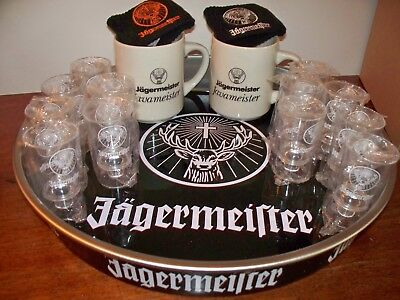 Jagermeister Serving Tray Mugs & Wristbands & Shot glasses New