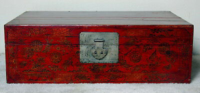 Chinese antique red lacquer pained chest