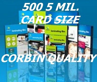 Ultra Clear 5 Mil CARD SIZE 500 Laminating Laminator Pouches 2-5/8 x 3-7/8   CQ