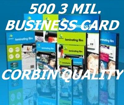 Ultra Clear 500 Business Card Laminating Laminator Pouches 3 mil  2.25 x 3.75 CQ