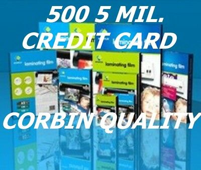 Ultra Clear Credit Card 500 Laminating Laminator Pouches 5 Mil 2-1/8 x 3-3/8  CQ
