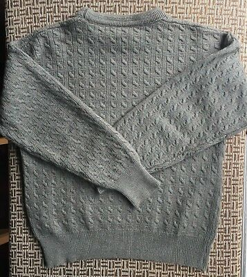 Ansett Mens Pure New Wool Mens Cable Knit Jumper Size 20 Made In Australia Euc