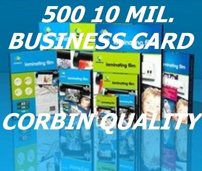 Ultra Clear Business Card 500 Hot Laminating Pouches 10 Mil  2-1/4 x 3-3/4  CQ