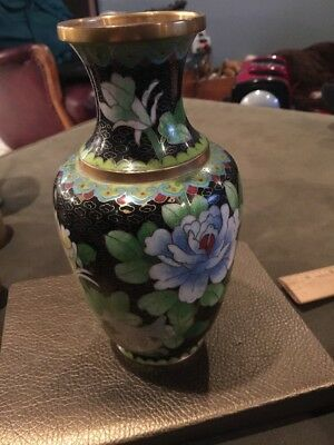 Antique Chinese Hand Painted Cloisonne Bronze Enamel Vase 9 Inches Tall