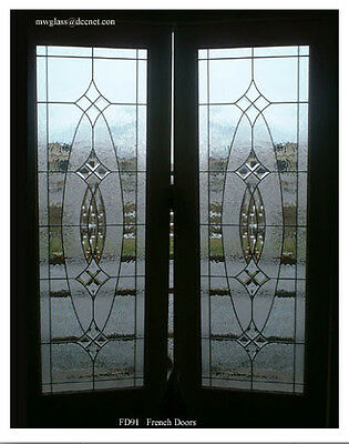 EXTERIOR  set Double Doors bevel leaded glass Pre-hung in frame Wow
