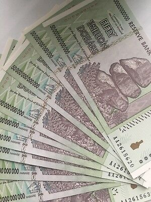 50 TRILLION ZIMBABWE DOLLAR MONEY CURRENCY. AU. Circulated.US SELLER. 10 notes