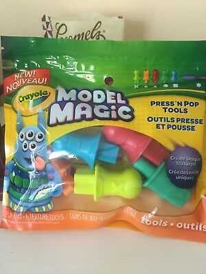 New Crayola Model Magic Press And Pop Tools Play Dough And Clay 6 Pieces