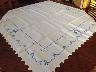 embroidered tablecloth Crisp White With Blue Edging