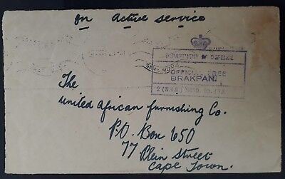 RARE 1943 South Africa On Active Service Cover w Dept of Defence Brakpan cancel