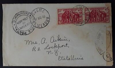 1940 Cameroon Censor Cover ties 2 stamps cancelled Doume to USA
