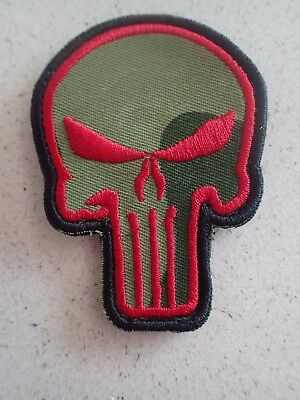 New Punisher Red On Olive Drab tactical Morale Hook Loop Patch Aussie Stock