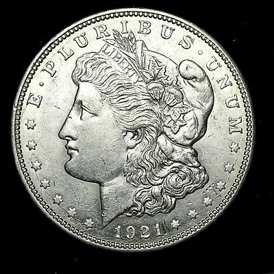 1921 D ~**ABOUT UNCIRCULATED AU**~ Silver Morgan Dollar Rare US Old Coin! #Y75