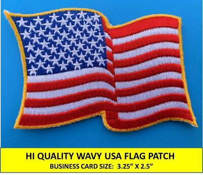 Usa American Flag Waving Wavy Embroidered Patch Iron-On / Sew-On Gold Border