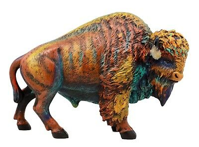"Colorful Bison Figurine 9""L Hand Painted Resin Ox Head Wild Life Animal"