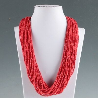 Collectibles Decorated Handwork Tibet Red Coral Necklaces LXL066
