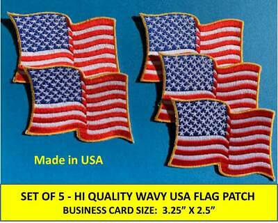 Set Of [5] Usa American Flag Wavy Embroidered Patch Iron-On/sew-On Gold Border