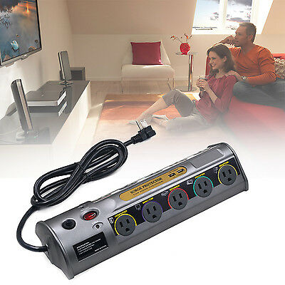 Auto Switch 10 Outlets Surge Protector 6900J 2 USB Charger 6 ft Cord Power Strip