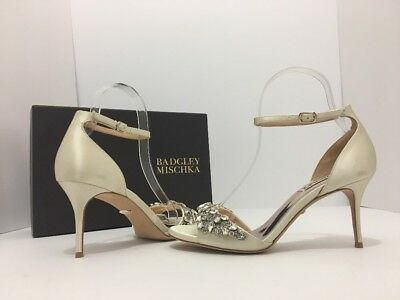 Badgley Mischka Bankston Ivory Satin Women's Evening Bridal Heels Sandals Size 7