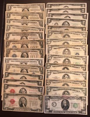 MIXED DEALER LOT of $87 FACE VALUE SMALL SIZE SILVER, LEGAL TENDER and FRN